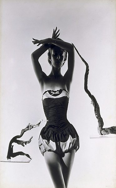 An image of Fashion illustration (Model with driftwood) by Athol Shmith