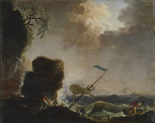 An image of Storm and wreck by attrib. Claude-Joseph Vernet