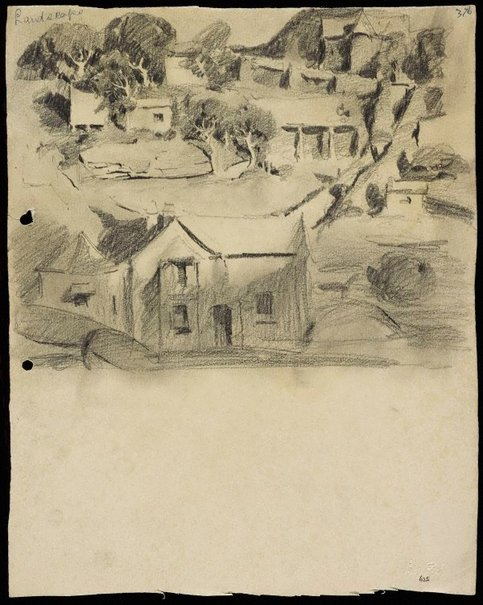 An image of Landscape with houses by Lloyd Rees