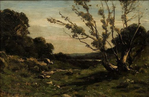 An image of Morning in the Nievre by Henri-Joseph Harpignies