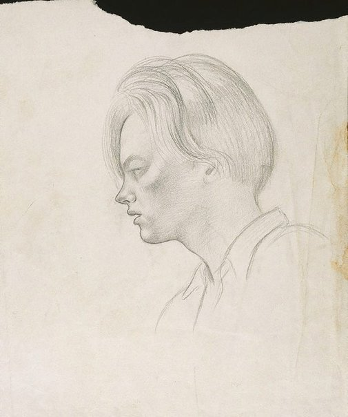 An image of (Young man's head in profile) by Douglas Watson