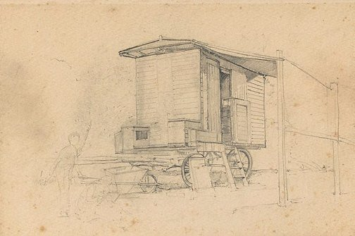 An image of recto: (The artist's caravan at Narrabeen) verso: (studies of a boat) by Sydney Long