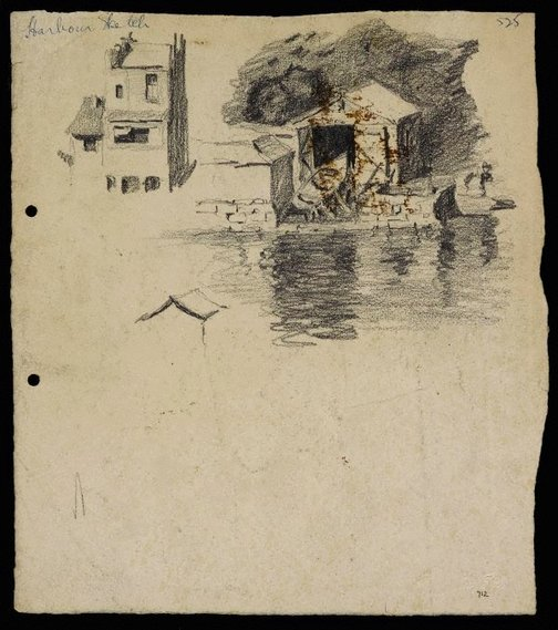 An image of recto: Harbour sketch verso: Houses and trees by Lloyd Rees