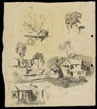 Alternate image of recto: Harbour sketch verso: Houses and trees by Lloyd Rees