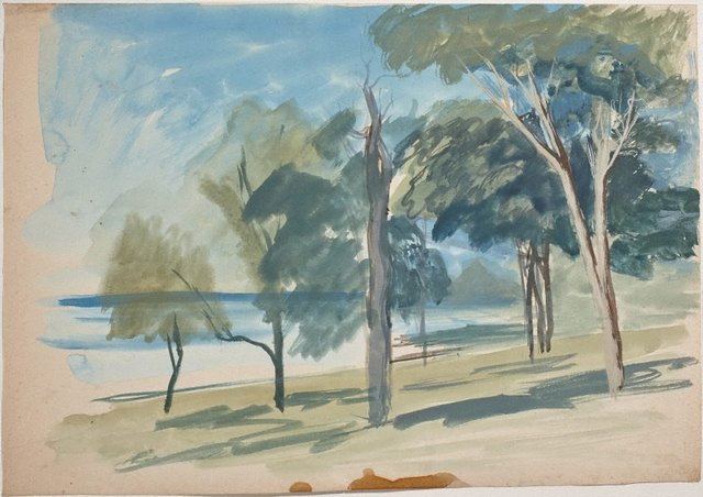 An image of (Shoreline with trees) (Gouaches)