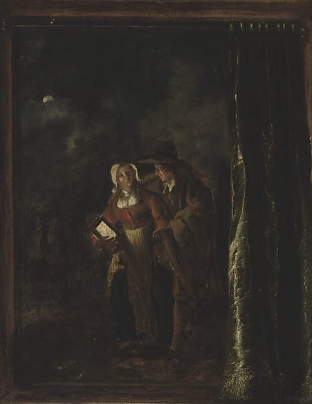 An image of Man caressing woman with lantern