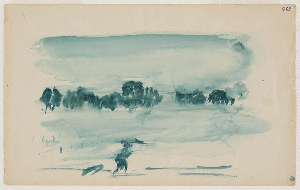 An image of (Landscape with figure) (Gouaches)