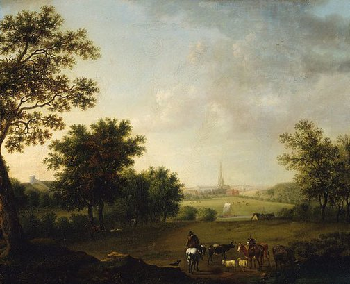 An image of Landscape with view of Norwich Cathedral by Joseph Browne