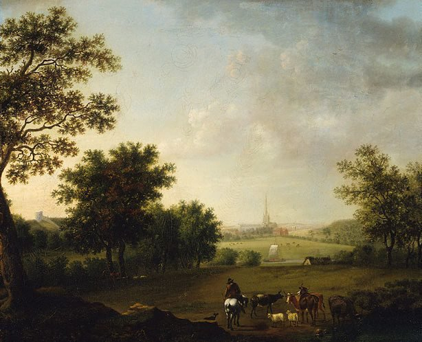 An image of Landscape with view of Norwich Cathedral