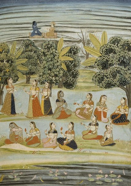 An image of Radha and the milkmaids (gopis) by