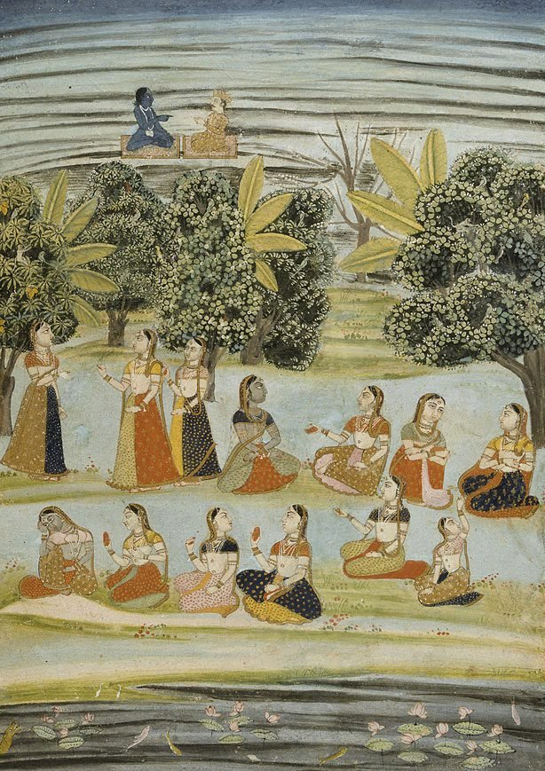 An image of Radha and the milkmaids (gopis)