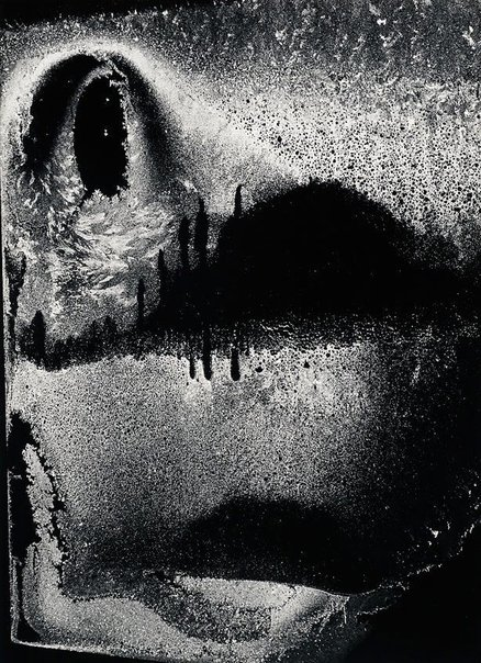 An image of Dumb face, frost on window, January 12, 1959 by Minor White