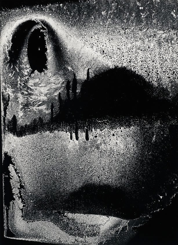 An image of Dumb face, frost on window, January 12, 1959