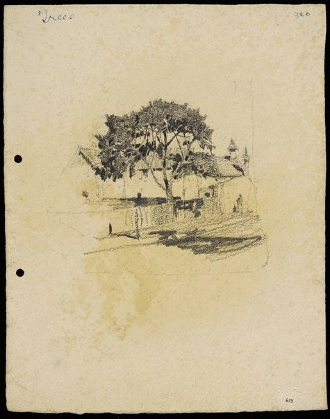 An image of recto: Tree with house with turret and chimney verso: Tree with house turret and chimney by Lloyd Rees