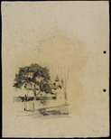 Alternate image of recto: Tree with house with turret and chimney verso: Tree with house turret and chimney by Lloyd Rees