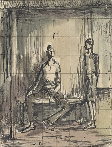 An image of Two figures on a verandah by Russell Drysdale