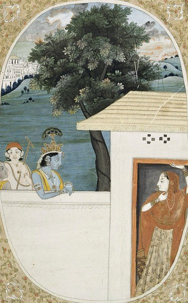 An image of Krishna and attendants visiting Radha by