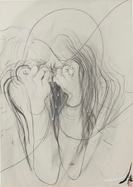 An image of Crying woman by Brett Whiteley