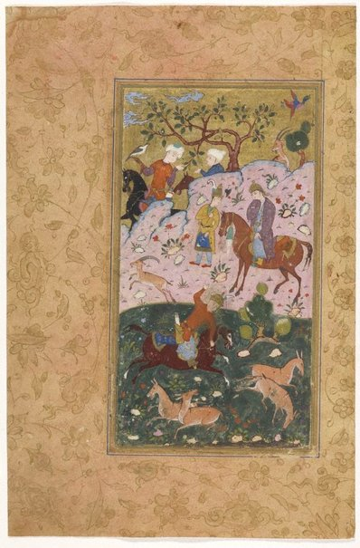 An image of Bahram Gur shooting two asses, left side of a frontispiece from a manuscript of the Haft Paikar by