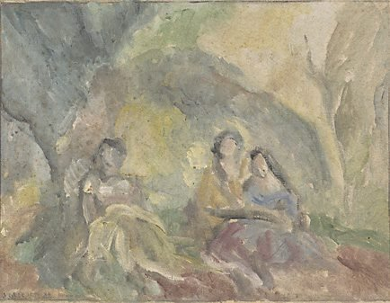 An image of (Three women in a glade) by James Gleeson