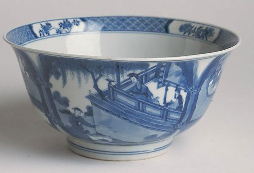 An image of Bowl decorated on exterior with scene from a story by Jingdezhen ware