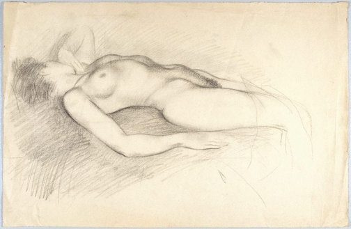An image of (Reclining female nude) by Douglas Watson