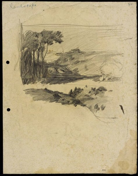 An image of Landscape with pointy hill by Lloyd Rees