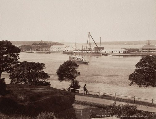 An image of Naval depot, Garden Island Sydney Harbour by Unknown, NSW Government Printer