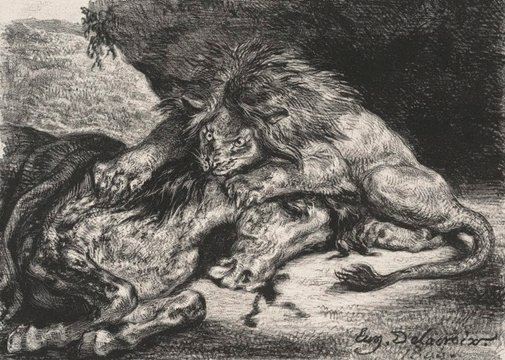 An image of Lion devouring a horse by Eugène Delacroix