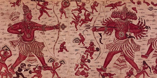 An image of Heirloom textile (ma'a) with a scene from the 'Ramayana'