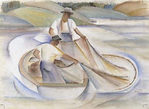 An image of Lake fishermen II by Frank Hinder