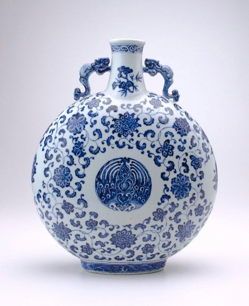 An image of Moonflask decorated with floral motifs by Jingdezhen ware