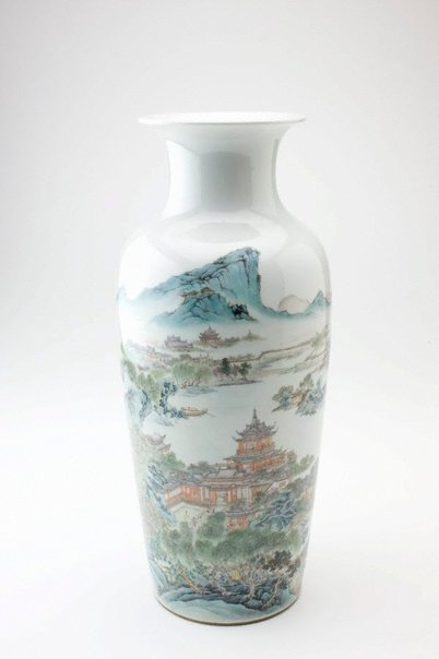 An image of Vase with scene of pavillions by a lake by