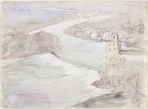 An image of Moulin Cordier on the River Orb, Béziers by Lloyd Rees