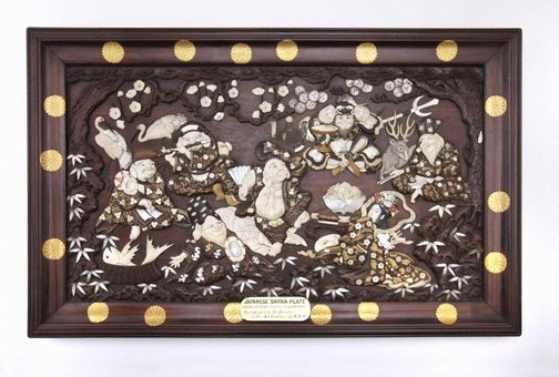 An image of Shitan plate representing 6 Japanese Gods and 1 Goddess by Meiji export crafts