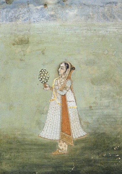 An image of Girl with flowers by