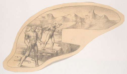 An image of Studies for 'Eau + Feu = Calamite' (Blindfolded figures) by James Gleeson