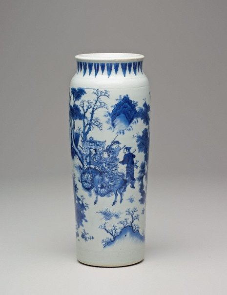 An image of Cylinder vase decorated with figures and landscapes by Jingdezhen ware
