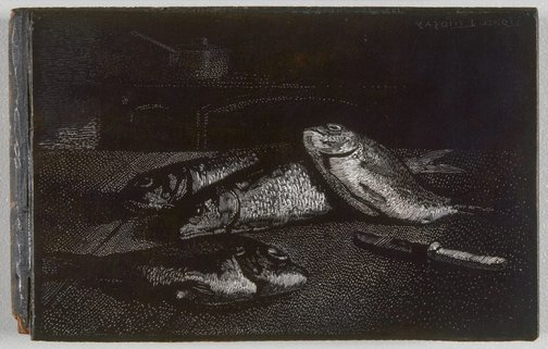 An image of Block for wood engraving 'Fish' by Lionel Lindsay