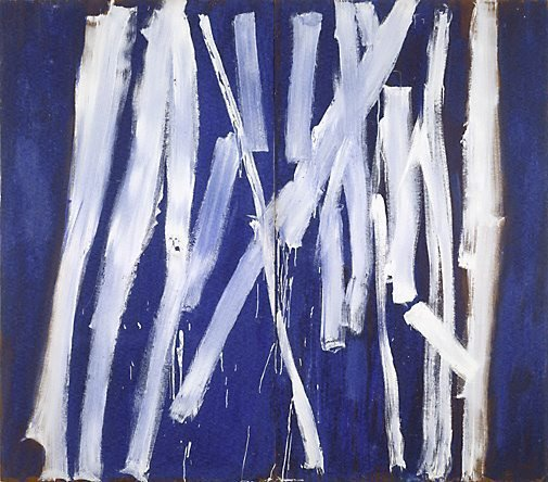 An image of White lines (vertical) on ultramarine by Tony Tuckson
