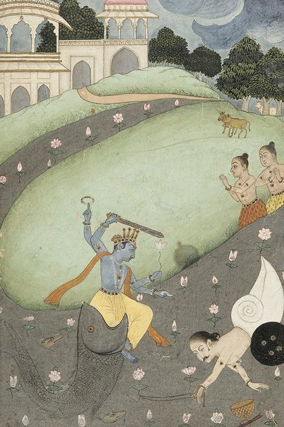 An image of Matsya, the fish avatar of Vishnu, killing the demon Hayagriva by