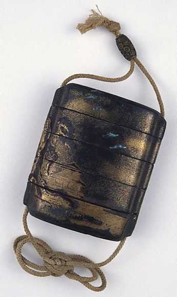 An image of Four-case 'inrô' decorated with a traveller in a landscape theme with chrysanthemum decorated metal 'ojime' attached by