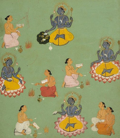 An image of The worship of Vishnu by
