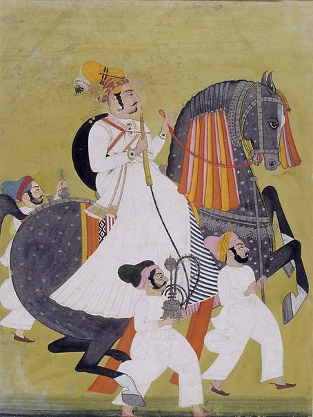 An image of Portrait of Raja Kesari Singhji of Jodhpur on horseback by