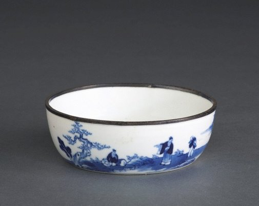 An image of Bowl with landscape painting and poem by Southern kilns