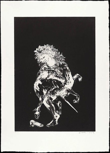 An image of (Illustration for Peter Porter's poem 'The unicorn's love dance') by Arthur Boyd