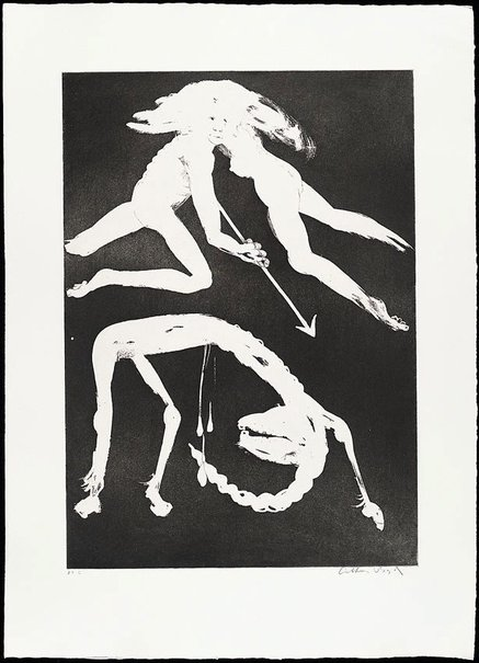 An image of (Illustration for Peter Porter's poem 'The unicorn in love') by Arthur Boyd