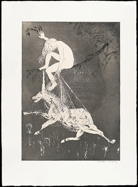An image of (Illustration one for Peter Porter's poem 'The lady betrays the unicorn') by Arthur Boyd
