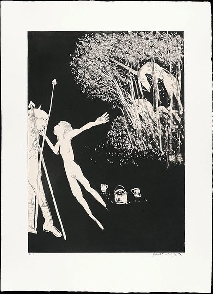 An image of (Illustration 2 for Peter Porter's poem 'The lady betrays the unicorn') by Arthur Boyd