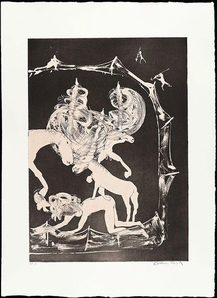 An image of (Illustration for Peter Porter's poem 'The hunters trap the unicorn') by Arthur Boyd